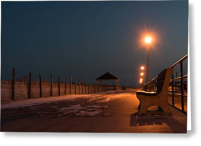 Book Cover Art Greeting Cards - Winter Night Boardwalk Bench Seaside NJ  Greeting Card by Terry DeLuco