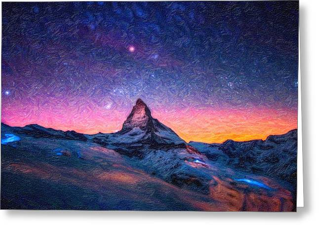 Winter Night High Peak Greeting Card by MotionAge Designs