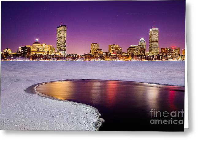 Charles River Greeting Cards - Winter Night in Boston Greeting Card by Benjamin Williamson