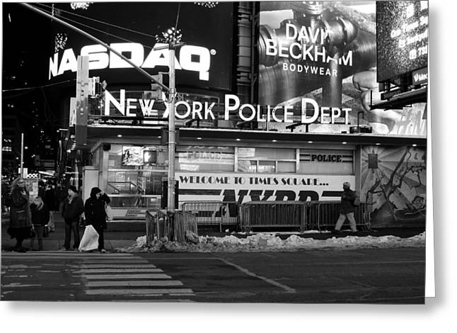 Crosswalk Greeting Cards - Winter Night in New York City Greeting Card by Mountain Dreams