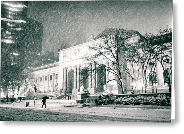 Winter Photos Greeting Cards - Winter Night in New York City - Snow Falls onto 5th Avenue Greeting Card by Vivienne Gucwa