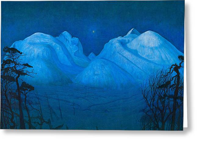 Winter Night Greeting Cards - Winter Night in the Mountains Greeting Card by Harald Sohlberg