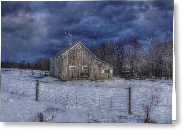 Winter Scenes Rural Scenes Greeting Cards - Winter Night in Vermont with Snow Falling over Barn Greeting Card by Joann Vitali