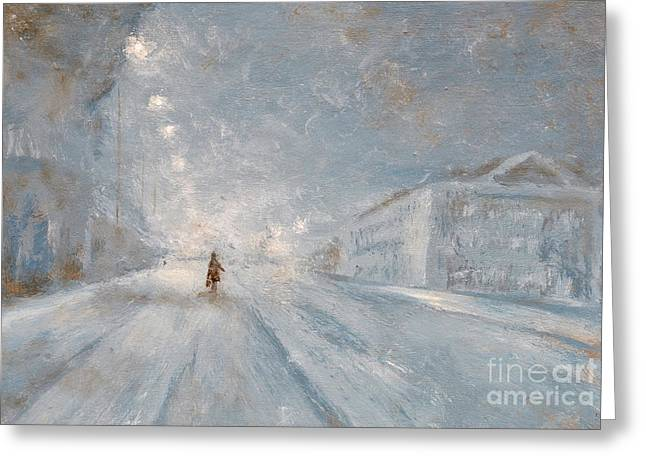 Snowy Night Night Greeting Cards - Winter night Greeting Card by Jiri Capek