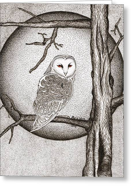 Winter Prints Drawings Greeting Cards - Winter Night Greeting Card by Marie Wern