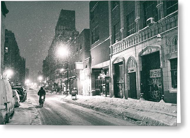 Snowy Night Night Greeting Cards - Winter Night - New York City - Lower East Side Greeting Card by Vivienne Gucwa