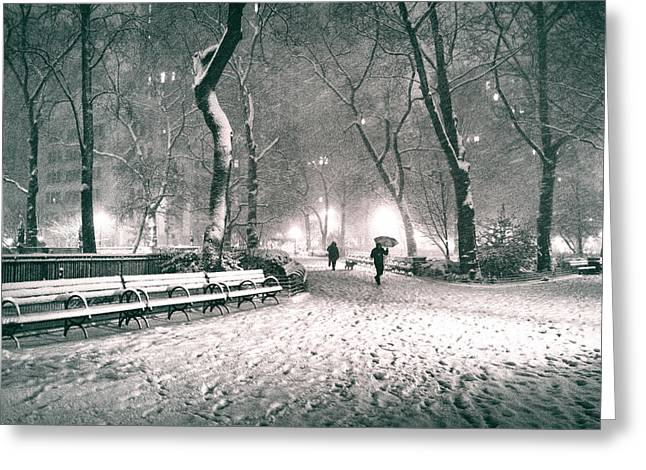Nyc Night Greeting Cards - Winter Night - New York City - Madison Square Park Greeting Card by Vivienne Gucwa