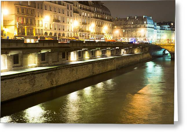 Paris At Night Greeting Cards - Winter Night on the Seine in Paris Greeting Card by Mark Tisdale