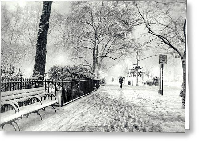 New York Photo Greeting Cards - Winter Night - Snow - Madison Square Park - New York City Greeting Card by Vivienne Gucwa