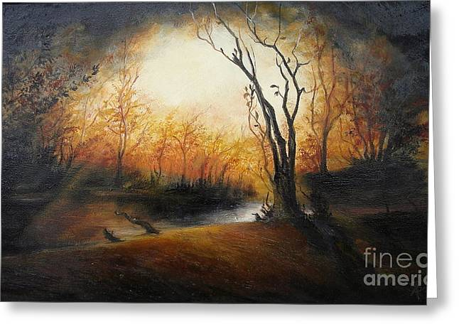 Landscape Framed Prints Greeting Cards - Winter Night Greeting Card by Sorin Apostolescu