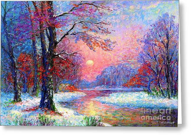 Woodland Scenes Paintings Greeting Cards - Winter Nightfall Greeting Card by Jane Small