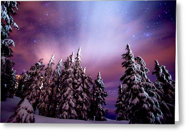 Winter Scene Photographs Greeting Cards - Winter Nights Greeting Card by Darren  White