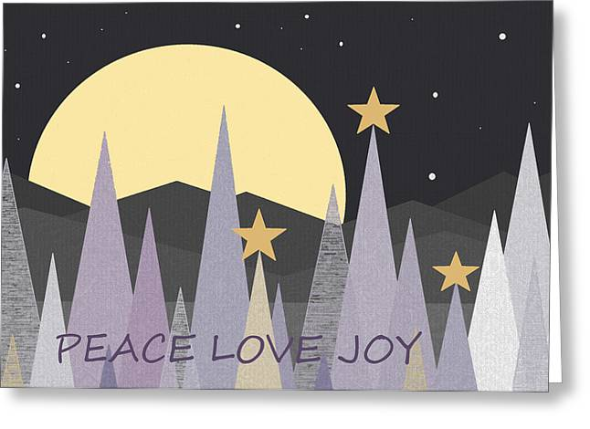 Winter Night Greeting Cards - Winter Nights - Peace Love Joy Greeting Card by Val Arie