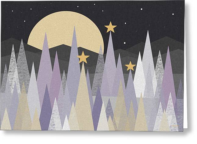 Snowy Night Night Greeting Cards - Winter Nights Greeting Card by Val Arie
