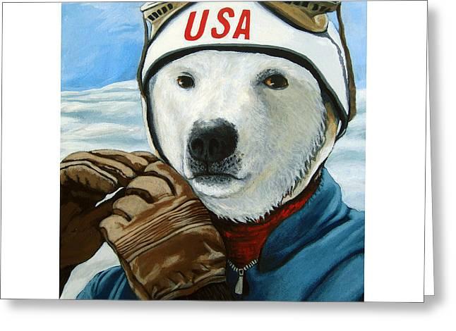 Linda Apple Paintings Greeting Cards - Winter Olympic Skier Greeting Card by Linda Apple