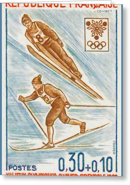 Skiing Prints Paintings Greeting Cards - WINTER OLYMPICS xed GRENOBLE 1968 Greeting Card by Lanjee Chee