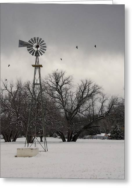 Windmill And Tree Greeting Cards - Winter on a Farm  Greeting Card by Saija  Lehtonen