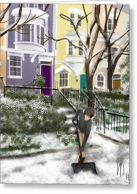 Sidewalk Drawings Greeting Cards - Winter on Capitol Hill Greeting Card by Lois Ivancin Tavaf