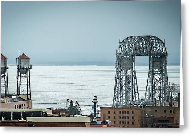 Decorate Greeting Cards - Winter On Duluth Landmarks Greeting Card by Paul Freidlund