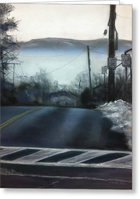 Mist Paintings Greeting Cards - Winter on Oak Street Greeting Card by Cristine Kossow