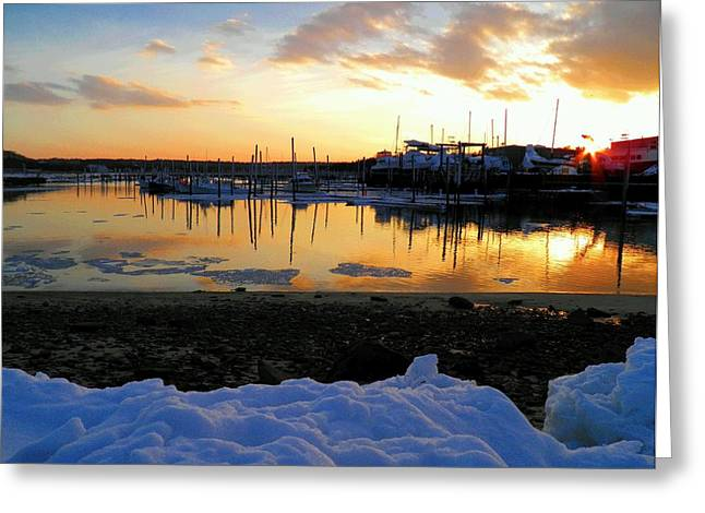 Harbor Sesuit Harbor Greeting Cards - Winter on Sesuit Harbor Greeting Card by Amazing Jules