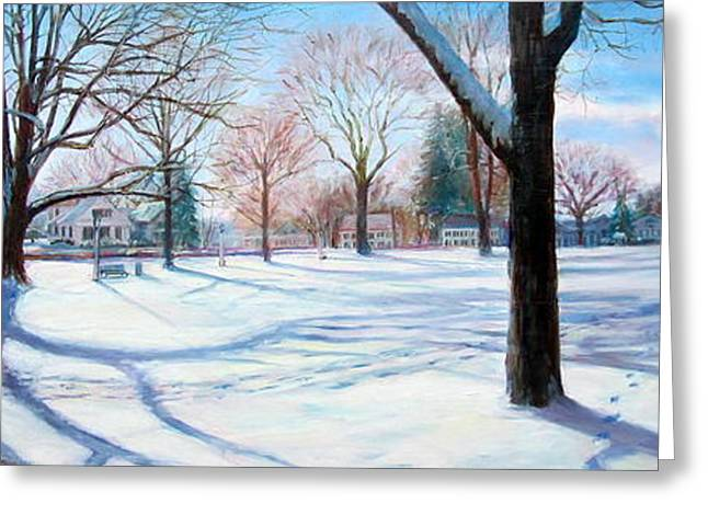 New England Village Greeting Cards - Winter on Sturbridge Common Greeting Card by Linda Spencer