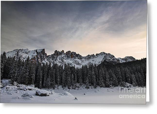 Italian Sunset Greeting Cards - Winter on the Carezza lake Greeting Card by Yuri Santin