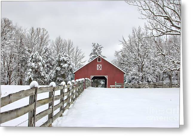 Red Barn In Winter Greeting Cards - Winter on the Farm Greeting Card by Benanne Stiens