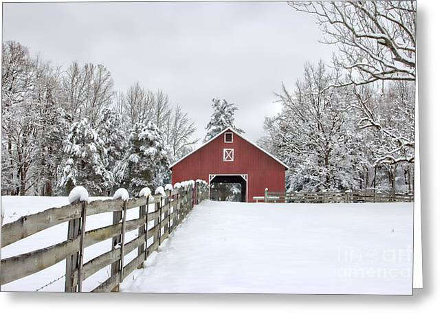 Red Barn In Snow Greeting Cards - Winter on the Farm Greeting Card by Benanne Stiens