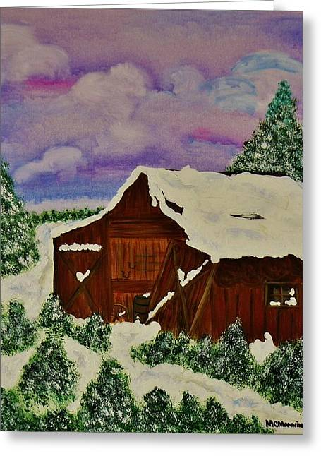 Barn Covered In Snow Greeting Cards - Winter On The Farm Greeting Card by Celeste Manning