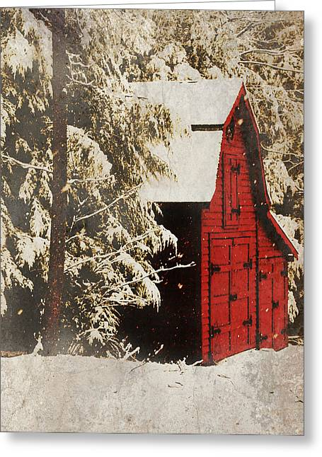 Winter On The Farm Greeting Card by Chastity Hoff