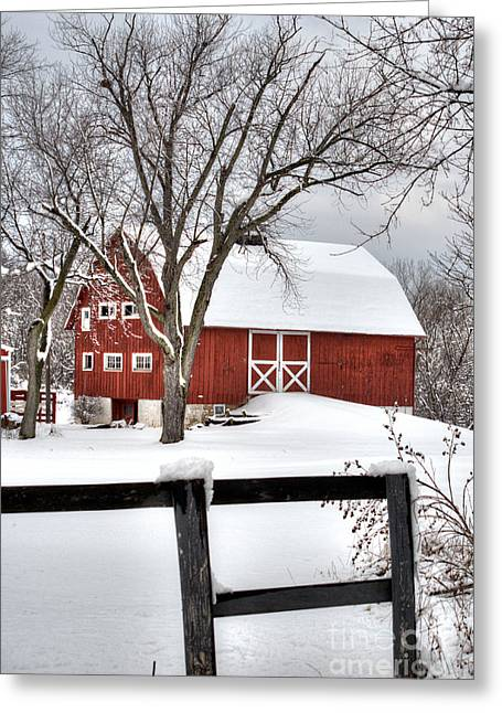 Wintery Barn Greeting Cards - Winter on the Farm Greeting Card by Deborah Smolinske