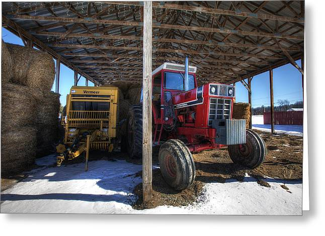 Mud Season Greeting Cards - Winter on the Farm Greeting Card by Eric Gendron