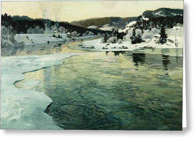 Thaulow Greeting Cards - Winter on the Mesna River Near Lillehammer Greeting Card by Fritz Thaulow