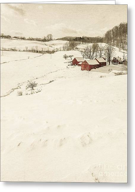 Snowy Field Greeting Cards - Winter on the old farm Greeting Card by Edward Fielding