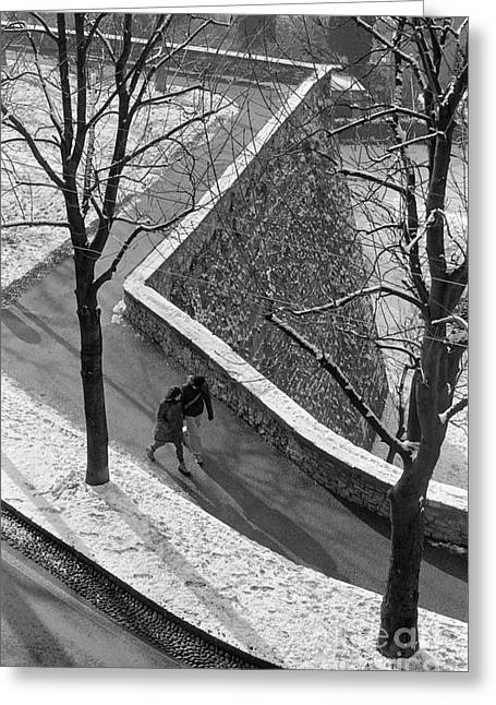 Winter On The Walls Of Bergamo Greeting Card by Riccardo Mottola