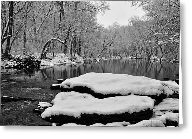 Winter On The Wissahickon Creek Greeting Card by Bill Cannon