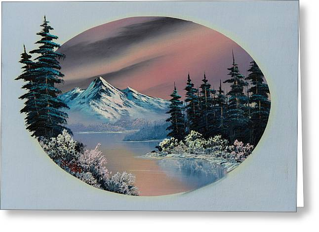 Bob Ross Paintings Greeting Cards - Winter Tranquility Greeting Card by C Steele
