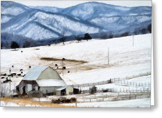 Snow On Barn Greeting Cards - Winter Paint Greeting Card by Kathy Jennings