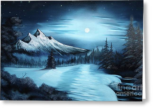 Snowy Field Greeting Cards - Winter Painting a la Bob Ross Greeting Card by Bruno Santoro