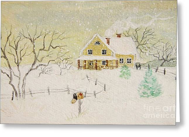 Winter Roads Digital Art Greeting Cards - Winter painting of house with mailbox/ digitally altered Greeting Card by Sandra Cunningham
