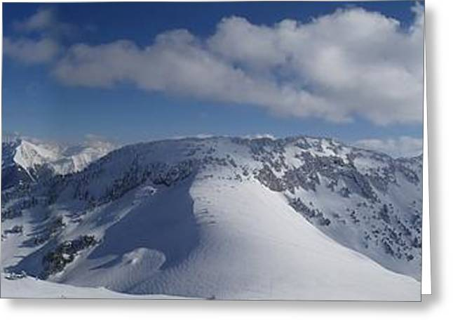 Mountain Valley Greeting Cards - Winter Panorama Greeting Card by Mountain Dreams