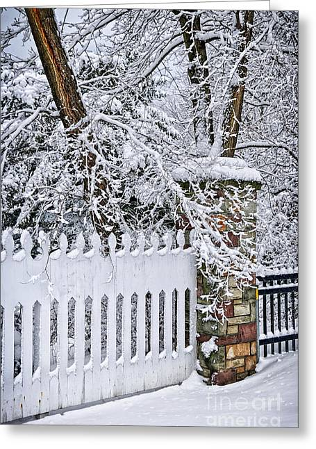 Snowy Tree Greeting Cards - Winter park fence Greeting Card by Elena Elisseeva