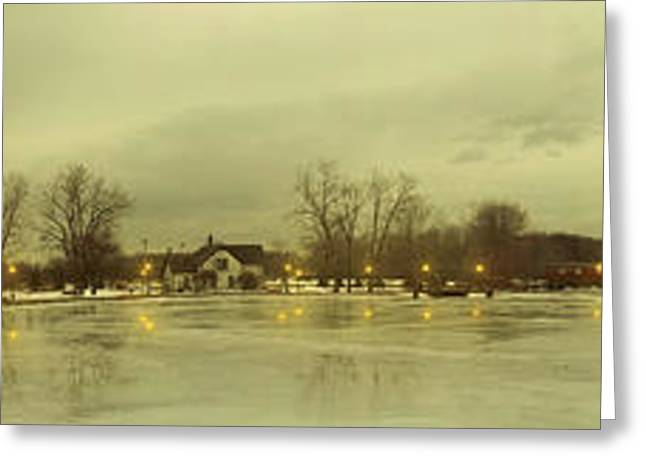 Pond In Park Greeting Cards - Winter Park Greeting Card by Michael Rucker
