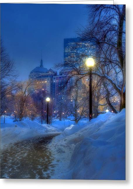 New England Snow Scene Greeting Cards - Winter Path - Boston Public Garden Greeting Card by Joann Vitali