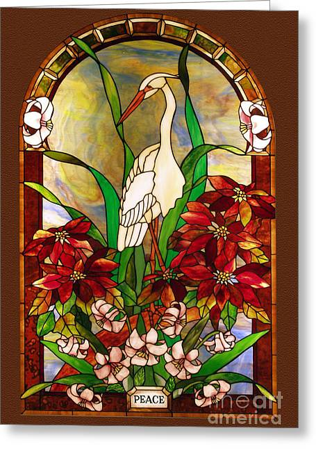Animals Glass Art Greeting Cards - Winter-Peace Greeting Card by John Emery