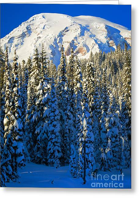 Snowshoes Greeting Cards - Winter Peak Greeting Card by Inge Johnsson