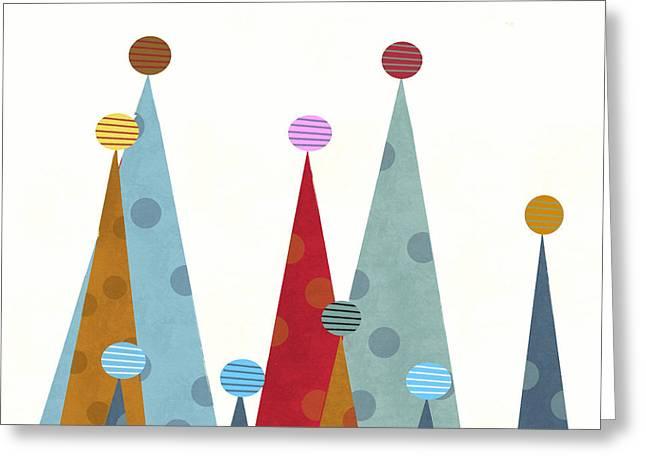 Expressive Arts Mixed Media Greeting Cards - Winter Peaks Greeting Card by Bri Buckley