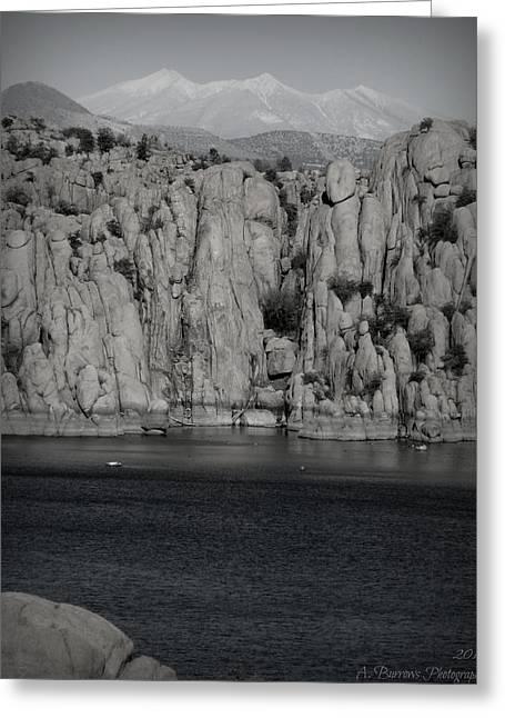Watson Lake Greeting Cards - Winter Peaks Over Watson Lake Black and White Greeting Card by Aaron Burrows