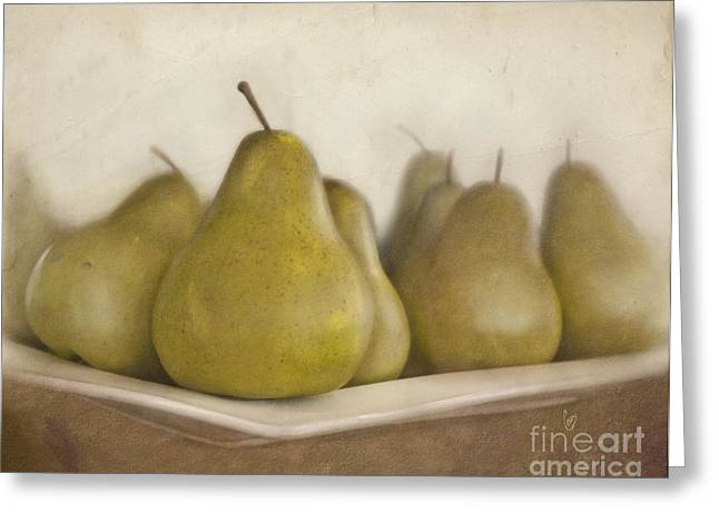 Produce Digital Art Greeting Cards - Winter pears Greeting Card by Cindy Garber Iverson